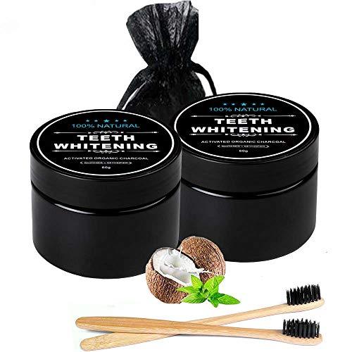 2 * 60g Premium Aktivkohle Pulver Zahnaufhellung zur natürlichen für weiße Zähne | 100% REIN ohne Zusatzstoffe | Activated Charcoal | Zahnpasta | Charcoal Bleaching | 2*Bambus Zahnbürste -