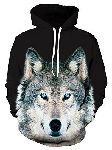 uideazone Unisex Wolf Langarm Kapuzenpullover Hoodie Sweatshirt mit Kängurutasche für Männer und Frauen GWolf-10