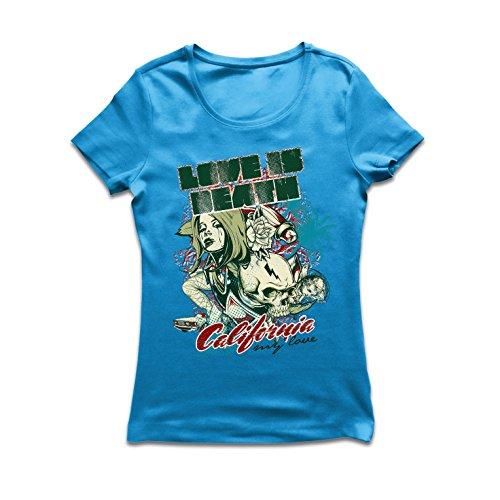 lepni.me Frauen T-Shirt Love is Dead - California Love, CA Vintage Tee, Cali Style (Large Blau Mehrfarben) (Baby-doll-tee Liebe)