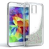 EAZY CASE GmbH Samsung Galaxy S5 / S5 LTE+ / S5 Duos / S5 Neo Schutzhülle mit Flüssig-Glitzer, Handyhülle, Schutzhülle, Back Cover mit Glitter Flüssigkeit, Silikon, Transparent/Durchsichtig, Silber