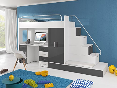 Furnistad Kinderzimmer Komplett Sun | Kinder Hochbett Mit Treppe,  Schreibtisch, Schrank Und Gästebett (Option Rechts, Weiß + Grau)