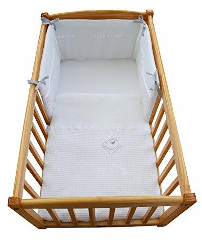Waffel Kinderbett/Wiege Quilt & Bumper Set mit Bär-Tag-Weiß -