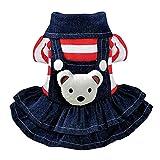 Pet Rock Jean Gestreiftes Kleid Mit Elastischem Design Für Kleine Mittelgroße Katzenhunde Niedlich Und Elegante Kleidung