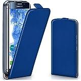 Pochette OneFlow pour Samsung Galaxy S7 Edge housse Cover magnétique | Flip Case étui housse téléphone portable à rabat | Pochette téléphone portable téléphone portable protection bumper housse de protection avec coque en ROYAL-BLUE