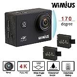 Wimius 4K Action Cam WIFI WebCamera Full HD 1080P 16MP Impermeabile Sport Camera 170 ° Grandangolare 2.0' Schermo LCD con Vari Accessori Kit Nero