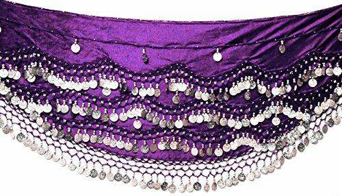 Velvet danza del ventre hip sciarpa cintura moneta e perline, UK, per s m l (Sciarpa Danza Del Ventre Costume Cintura)