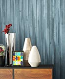 Holztapete Vliestapete Blau Edel , schöne edle Tapete im Holzwand Vertäfelung Design , moderne 3D Optik für Wohnzimmer Schlafzimmer od. Küche inkl. Newroom TapezierProfibroschüre mit super Tipps