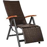 TecTake Sillón de relajante polyrattán aluminio silla de jardin con reposapiés tumbona