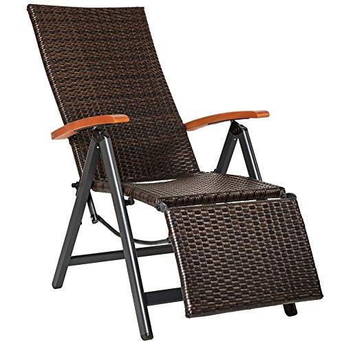 TecTake tumbona relajante polyrattán aluminio silla de jardin con reposapiés