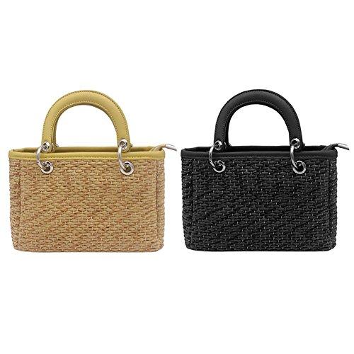 Everpert Summer Women Girls Mini Shoulder Handbags Straw Woven Beach Crossbody Bags