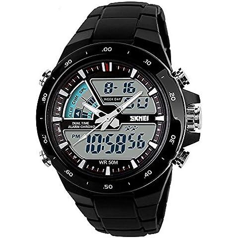 pkaty Orologio Sportivo LED analogico-digitale luce allarme cronografo mulitfunction Orologio da polso uomo/donna, black white, Taglia unica