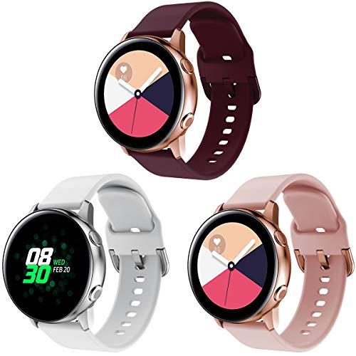 YaYuu Compatible Samsung Galaxy Watch Active/Active2 40mm 44mm Correa de Reloj 20mm Silicona Banda de Reemplazo Pulsera para Galaxy Watch 42mm/Gear Sport/Gear S2 Classic/Garmin Vivoactive 3/Ticwatch 2