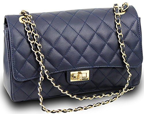 Made in Italy Luxus Damen Schultertasche Clutch Bella Nappa-Leder gesteppt Kette Dunkelblau -