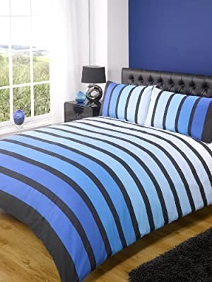 Bright Stripey Blue Striped Quilt Duvet Cover Bedding Set produced by Rapport - quick delivery from UK.