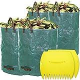 LIVEHITOP 4 Pièce Sacs à Déchets de Jardin Grands Imperméables PP, Sac de Feuilles avec Main Feuille Pelles Râteaux pour Feuilles, Herbe, Plantes, Compost (2X 120L,2X 272L)