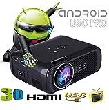 UHAPPY Android Mini WIFI intelligenter Projektor Vergrößern und verkleinern 1080P 1000 Lumen 20000 Stunden Lampenlebensdauer , black