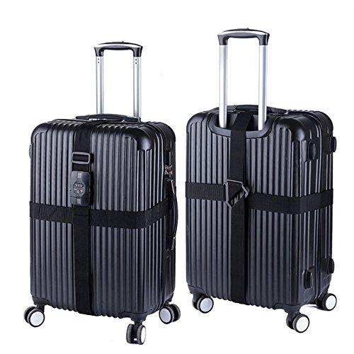 PvxgIo Bindung Gurt Verpackung Koffer Gürtel Band mit Lock Verstellbar Gepäck Schwarz (420 Gürtel)