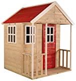 Wendi Toys Kinder Sommer Nordisches Gartenhaus aus Holz | Kinder Garten Spielhaus Geschlossener Typ M Größe mit Balkon, Plexiglasfenster, Spielzeug Regal, Vollständige Tür