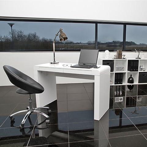 Schreibtisch BRICK, Retro-Stil, Hochglanz weiß, 120x50x76cm, NEU