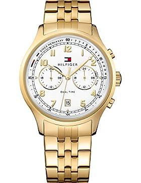 Tommy Hilfiger Herren-Armbanduhr Analog Quarz One Size, weiß/silber, gold