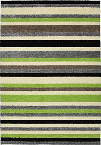William Armes Dandy - Tappeto colorato linea Stripey, Polipropilene, Green, 200 x 140
