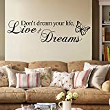 "Inspirador""Don't Dream Your Life, Live Your Dreams"" Citas Pegatinas de Pared Adhesivo Vinilo Decorativo Pared Letras Calcomanías de Pared de Vinilo de DIY Extraíble Sala de Estar, Dormitorio Mural"