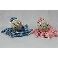 Pareja de pulpos amigurumi en colores rosa y azul bebé. Pulpos de ganchillo - crochet ideales como regalo para bebés y recién nacidos.