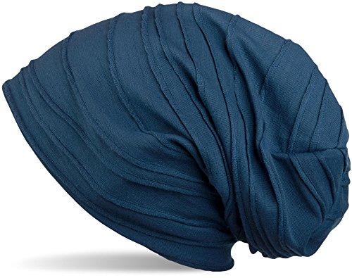 styleBREAKER klassische Beanie Mütze mit Falten Muster, Longbeanie, Unisex 04024053, Farbe:Petrol (One Size)