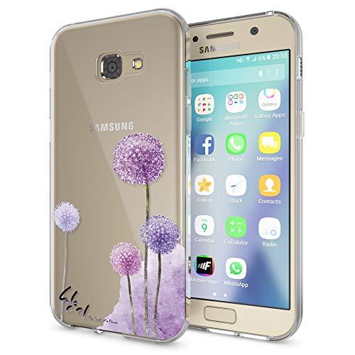 NALIA Handyhülle kompatibel mit Samsung Galaxy A5 2017, Slim Silikon Motiv Case Cover Schutz-Hülle Dünn Durchsichtig Etui Handy-Tasche Backcover Transparent Bumper, Designs:Dandelion Pink (Samsung Galaxy A5 Slim Case)
