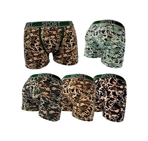 if he 5er Spar-Pack Herren Boxer-Shorts Unterhosen in Military Militär Army Look mit Camouflage Tarnmuster, Größe:3XL Maße Beachten, Style:A (Military Shorts Boxer)
