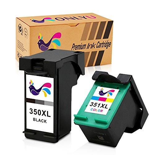 ONLYU 2-Compatible con paquetes HP 350 351 350XL 351XL Cartucho de tinta para HP Deskjet D4200 D4260 D4263 D4300 D4360 D4268 Officejet J5700 J5725 J5730 J6413 J6415 J6424 J6450 J6480 J6488 Photosmart C4200 C4205 C4210 C4240 C4250 C4270 C4580 C4583 Impresora