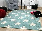 Soft Touch Velour Designer Teppich Canvas Sterne Mintgrün in 4 Größen