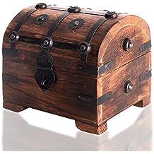 Caja de madera con candado de BRYNNBERG | Cofre del tesoro pirata de estilo vintage | Hecha a mano | Diseño retro | (Rústico L 14x11x13cm)