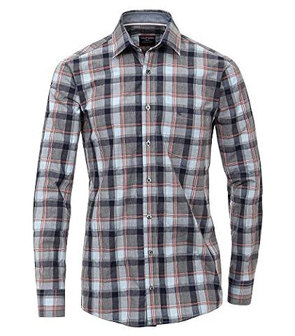 Casa Moda - Comfort Fit - Herren Karo Seersucker Hemd mit Kent-Kragen (462396700), Größe:XXL;Farbe:Blau