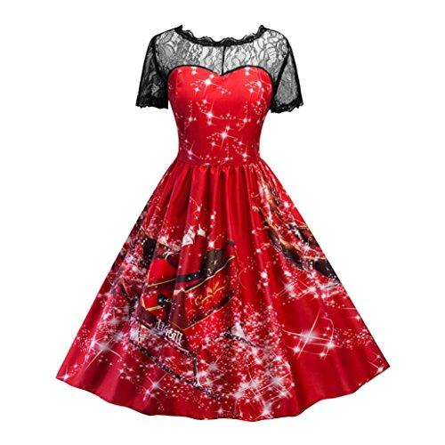 Sannysis Frauen Swing Kleid Weihnachten Print Lace Yoke Kurzarm Abendgesellschaft Kleid (L, Rot) (Butterfly-kaftan)