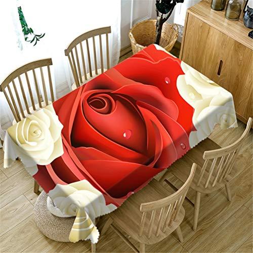 AMON LL Rechteckige Tischdecke 100% Polyester Länglich Tischdecke, Rote Rose Tischdecke Matte Tischdecke Stoff Modern Bar Essential,152x259cm -