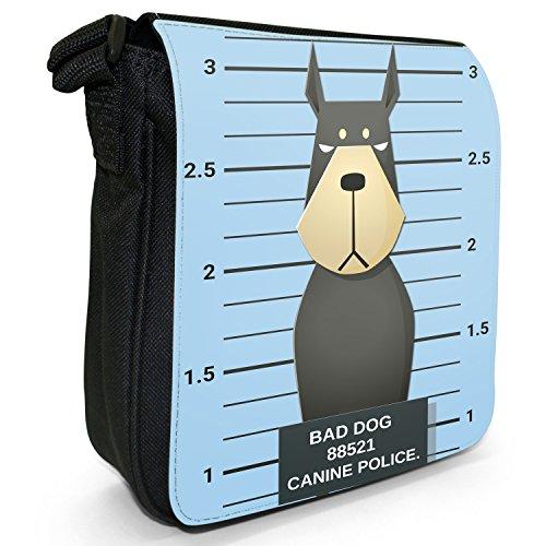 Gegenüberstellung Polizei böse unartige Hunde Kleine Schultertasche aus schwarzem Canvas Dobermann Pinscher