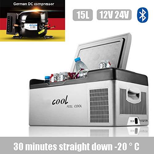 APICK Réfrigérateur De Voiture 15L Portable Compresseur Frigo pour des Voitures Et des Camions DC 12V / 24V Glacière électrique pour Camping,Les Pique-niques, Festivals,Gris