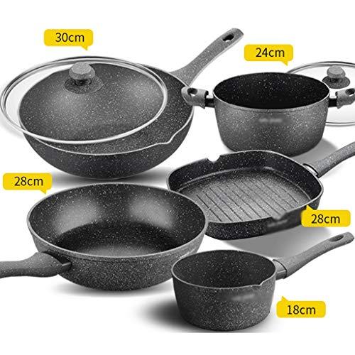 Kochgeschirrset Maifanshi Wok Nonstick Küche Haushalt Kochen Dreiteiliger Induktionsherd Gasherd Kochgeschirr (Color : Black, Größe : 5-Piece Set) Non-stick Wok