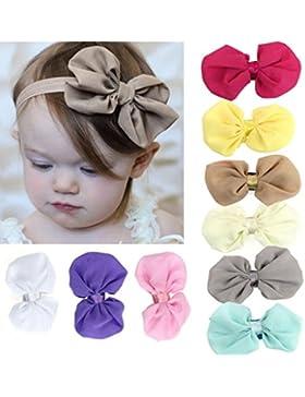 Hosaire 10 Piezas Bebé Niña Gasa Flores Banda Para El Cabello Elástico Bowknot Diademas Fotografía (Colores aleatorios)