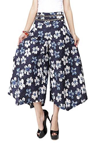 Bigood Pantalon Evasé Femme Coton Lin Grande Taile Jambe Large Elastique Casaul Plage #18