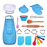 Anpole 24 Pcs Complete Kids Chef Set, Children Cooking Play Kitchen Waterproof Baking Aprons, Chef Hat, Utensils, Cake Cutter, Silicone Cupcake Moulds for Kids Gift - Blue