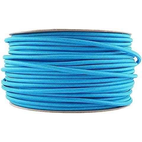 Brillante Blu Cavo in tessuto | colorata Flex | 3core rotondo - Colorata Tessuto Blu