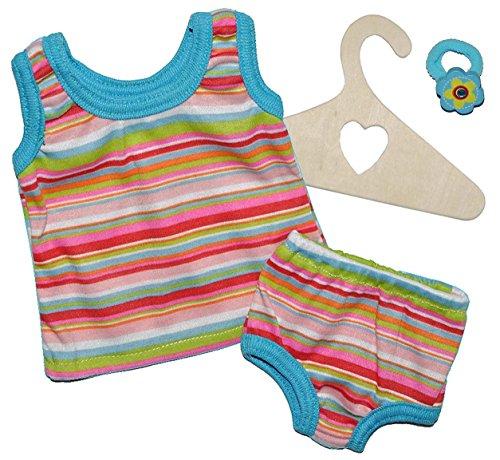 2 tlg. Set Puppenkleidung Gr. 20 - 25 cm - Unterwäsche Slip + Unterhemd blau gestreift Kleidung - Unterwäsche-set Puppenkleidung