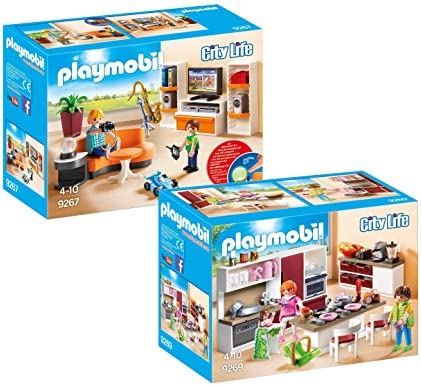 Playmobil City Life Set en 2 parties 9267 9269 Soggiorno con mobile TV  Grande Cucina Attrezzata | De Première Qualité