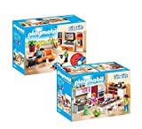 Playmobil City Life Set en 2 parties 9267 9269 Soggiorno con mobile TV + Grande Cucina Attrezzata...