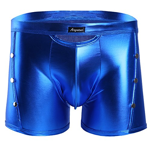 shorts Lackleder Retro Shorts Briefs Pants Wetlook Unterhose Reizwäsche Männer Badehose M-XXL Blau XL (Metallic Shorts Kostüm)