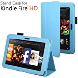 CaseGuru Leather Case Cover and Flip Stand Wallet with Capacitive Stylus Pen for Amazon Kindle Fire HD 2012 - Light Blue
