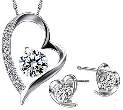 saysure-romantic-love-heart-silver-plated-jewelry-set
