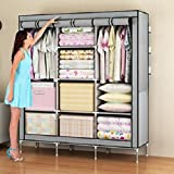 #1: Houzie 66Inch Portable Wardrobe Rack Cabinet Collapsible Clothes Storage Rack Diy - Red/Maroon (Random Colors)